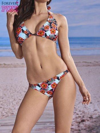 Kwiatowy stanik od bikini wiązany na szyi