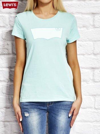 LEVIS Turkusowy t-shirt z naszywką