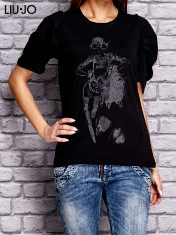 LIU JO Czarny t-shirt z nadrukiem i bufiastymi rękawami
