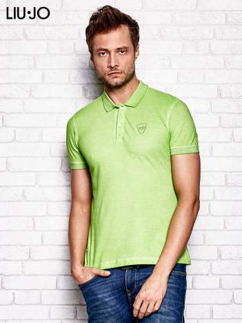 LIU JO Zielona dekatyzowana koszulka polo męska