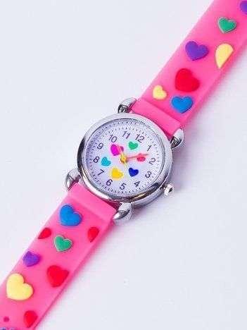 LOVE Fluo róż Dziecięcy Zegarek SERCA