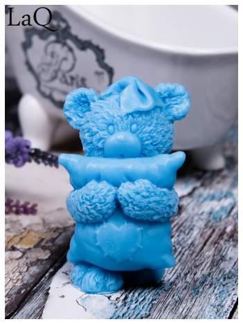 LaQ Mydełko duże Miś z poduszką - niebieski / Zapach - wata cukrowa BEZ SLS i SLES
