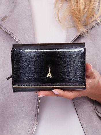 Lakierowany czarny portfel damski ze skóry naturalnej