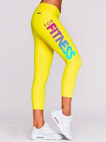 Legginsy do biegania z nadrukiem na boku żółte