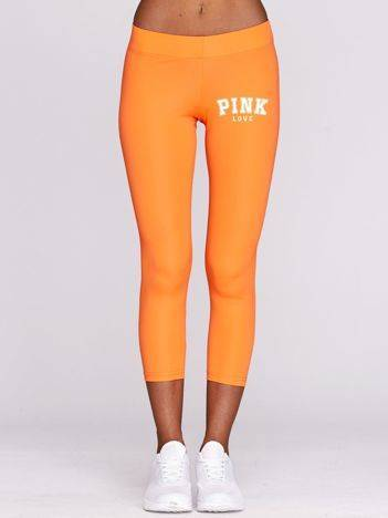 Legginsy do biegania z napisem PINK LOVE fluo pomarańczowe