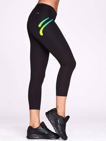 Legginsy do biegania ze sportowym logotypem czarne