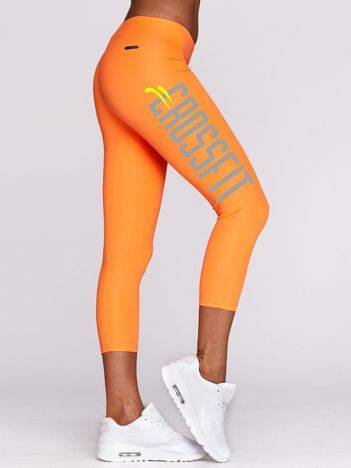 Legginsy fitness z nadrukiem CROSSFIT fluo pomarańczowe