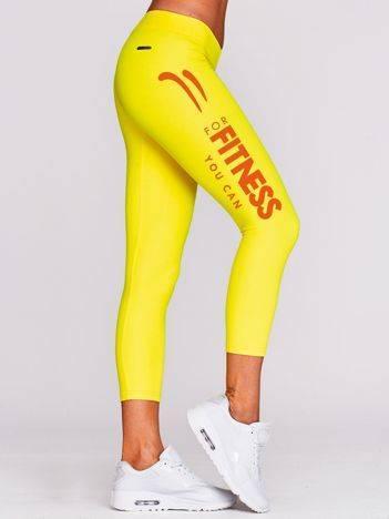 Legginsy na fitness z napisem FOR FITNESS żółte