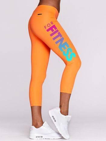 Legginsy na fitness z ombre nadrukiem fluopomarańczowe