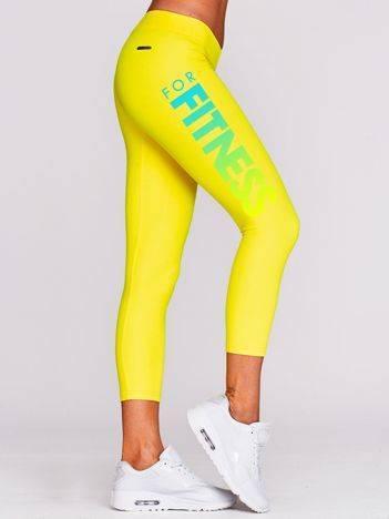 Legginsy na siłownię z nadrukiem napisu żółte