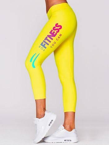 Legginsy na siłownię z printem na nogawce żółte
