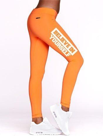 Legginsy sportowe BELIEVE IN YOURSELF fluopomarańczowe