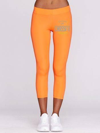 Legginsy sportowe z nadrukiem CROSSFIT fluo pomarańczowe