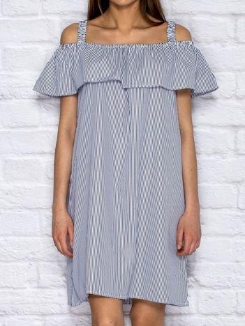 Letnia sukienka w paski z szeroką falbaną granatowa