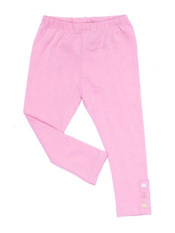 Liliowe legginsy dla dziewczynki z kolorowymi guzikami