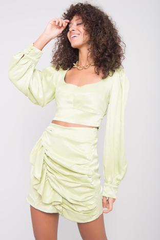 Limonkowa spódnica z drapowaniem BSL