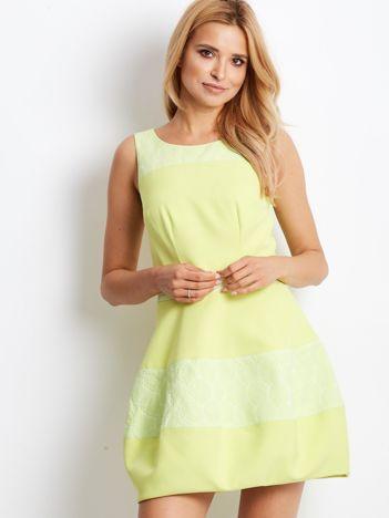 Limonkowa sukienka bombka z kwiatowymi modułami