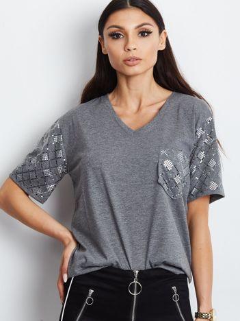 Luźny t-shirt V-neck z błyszczącymi cekinami ciemnoszary