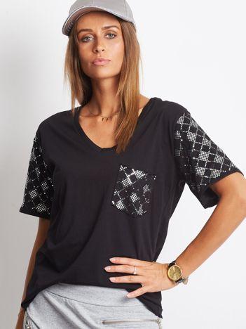 Luźny t-shirt V-neck z błyszczącymi cekinami czarny