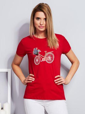 Luźny t-shirt z haftowaną aplikacją roweru czerwony
