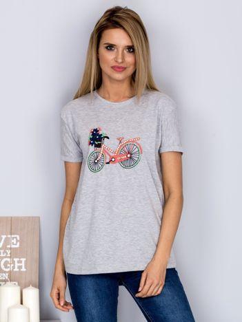 Luźny t-shirt z haftowaną aplikacją roweru jasnoszary