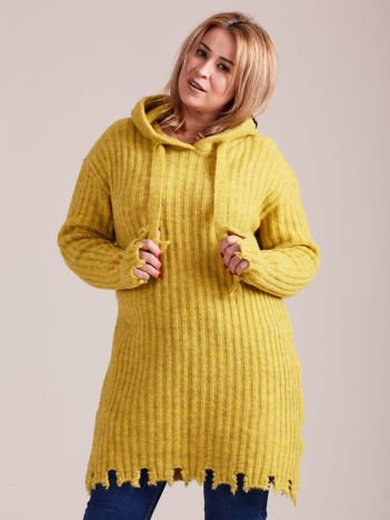 MAGPIE Żółty długi sweter z kapturem
