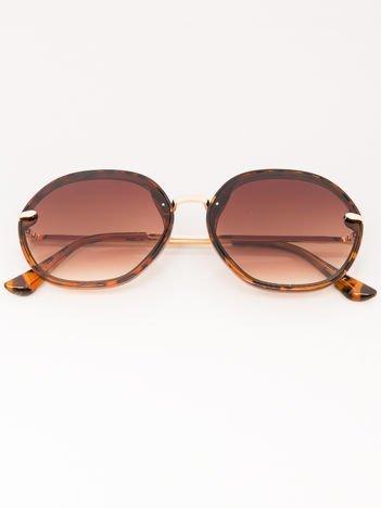 MANINA Okulary przeciwsłoneczne damskie panterka szkło brązowe dymione