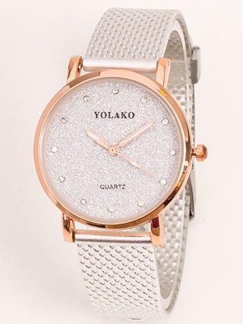 Mały Srebrny Zegarek Damski Z Tarczą GLITTER