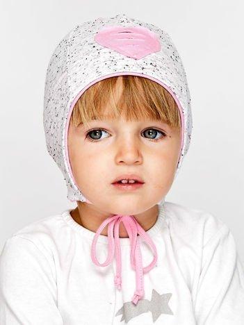 Melanżowa czapka dziewczęca z sercem i wiązaniem szaro-budyniowa