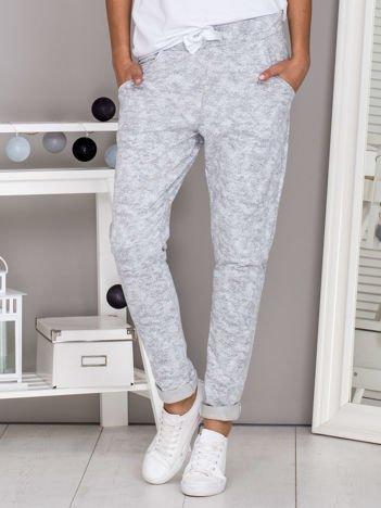 Melanżowe spodnie dresowe ze wstążką szare