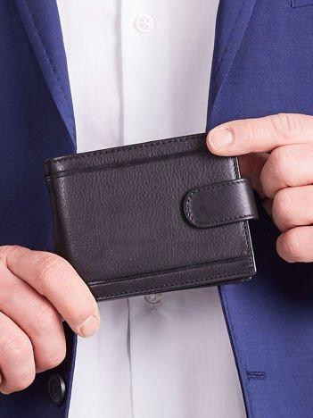 Męski skórzany portfel z zapięciem czarny