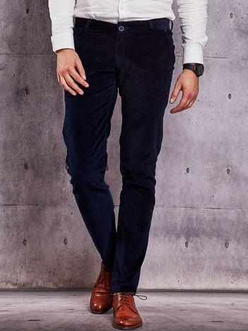 Męskie sztruksowe spodnie granatowe