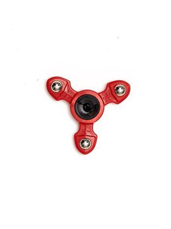 Metalowy czerwony fidget spinner z ozdobnymi kulkami