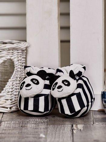 Miękkie buciki dziecięce w paski z pandą czarne
