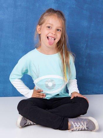 Miętowa bluzka dla dziewczynki z bawełny
