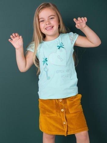Miętowa bluzka dla dziewczynki z dżetami