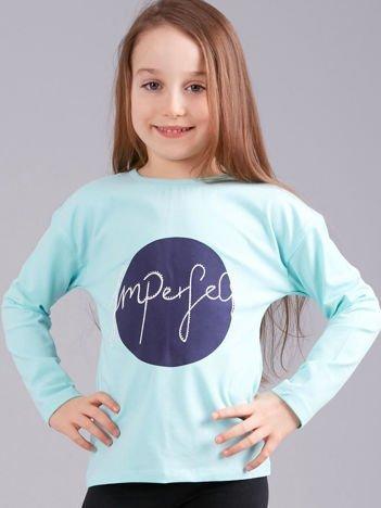 Miętowa bluzka dziewczęca z nadrukiem