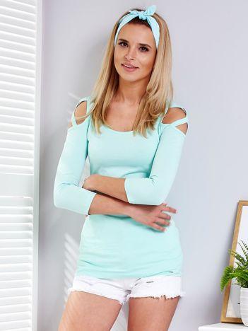 Miętowa bluzka z cienkimi paseczkami na rękawach