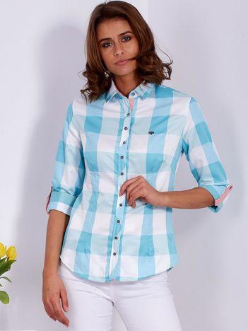 Miętowa koszula damska w kratę