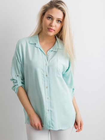 Miętowa luźna koszula
