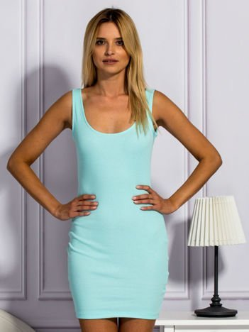 Miętowa prążkowana sukienka