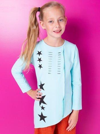 Miętowa tunika dla dziewczynki z aplikacją