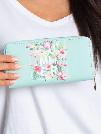 Miętowy portfel z nadrukiem