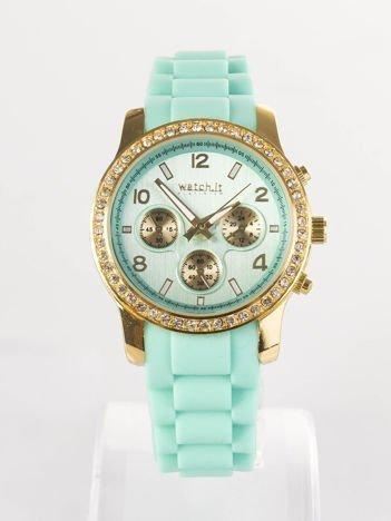 Miętowy silikonowy zegarek damski