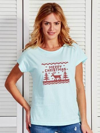 Miętowy t-shirt świąteczny z reniferem MERRY CHRISTMAS