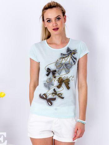 Miętowy t-shirt z kokardkami