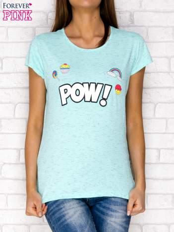 Miętowy t-shirt z napisem POW
