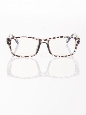 Modne okulary zerówki leopard KUJONKI NERDY; soczewki ANTYREFLEKS+system FLEX na zausznikach