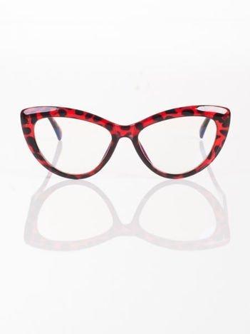 Modne okulary zerówki typu KOCIE OCZY w stylu Marlin Monroe; soczewki ANTYREFLEKS+system FLEX na zausznikach