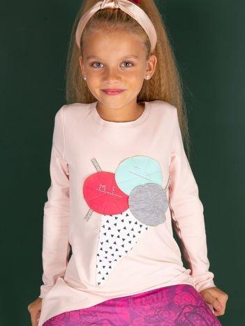 Morelowa tunika dla dziewczynki z naszywką
